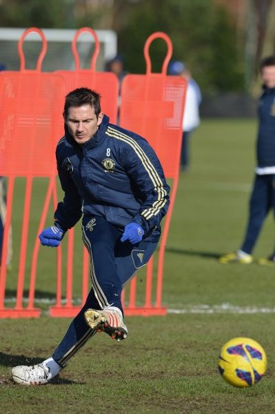 Chelsea's Frank Lampard during a training session at the Cobham Training Ground on 8th February 2013 in Cobham, England