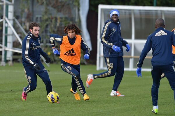 Chelsea's Juan Mata, Nathan Ake, Demba Ba during a training session at the Cobham Training Ground on 1st February 2013 in Cobham, England