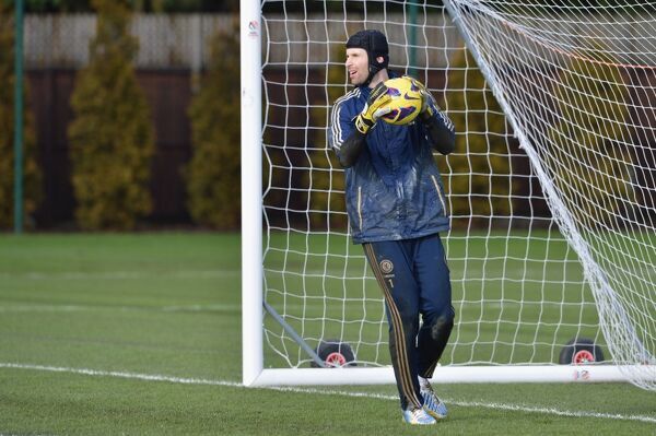 Chelsea's Petr Cech during a training session at the Cobham Training Ground on 1st February 2013 in Cobham, England