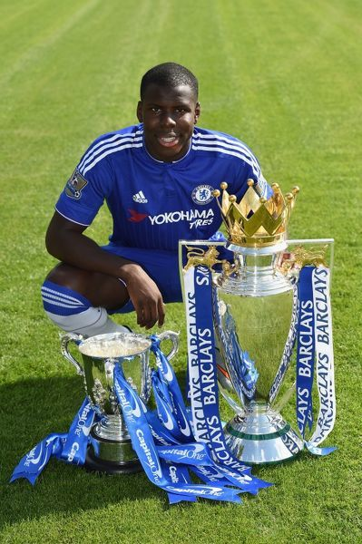 Chelsea's Kurt Zouma during the 1st team photocall at the Cobham Training Ground on 10th September 2015 in Cobham, England