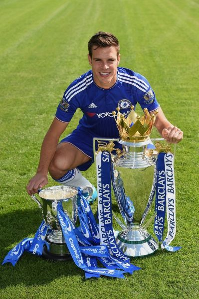 Chelsea's Cesar Azpilicueta during the 1st team photocall at the Cobham Training Ground on 10th September 2015 in Cobham, England