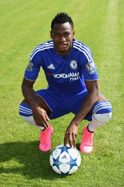 Chelsea's Baba Rahman during the 1st team photocall at the Cobham Training Ground on 10th September 2015 in Cobham, England