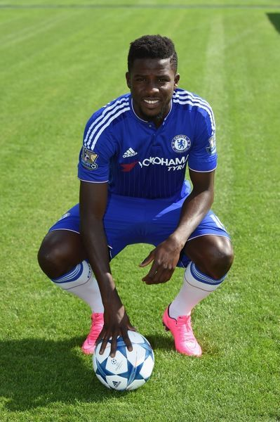 Chelsea's Papy Djilobodji during the 1st team photocall at the Cobham Training Ground on 10th September 2015 in Cobham, England