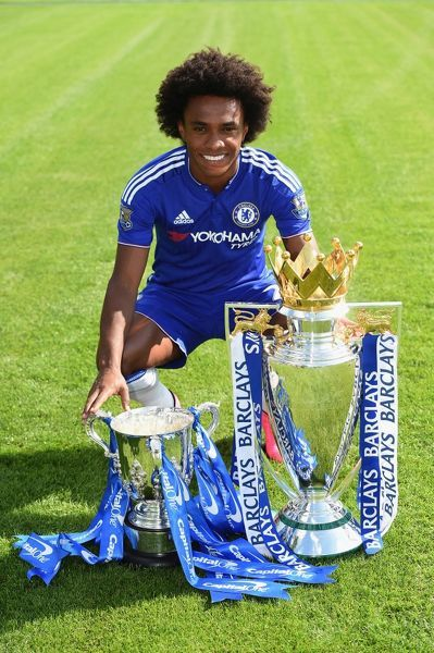 Chelsea's Willian during the 1st team photocall at the Cobham Training Ground on 10th September 2015 in Cobham, England