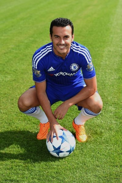 Chelsea's Pedro during the 1st team photocall at the Cobham Training Ground on 10th September 2015 in Cobham, England