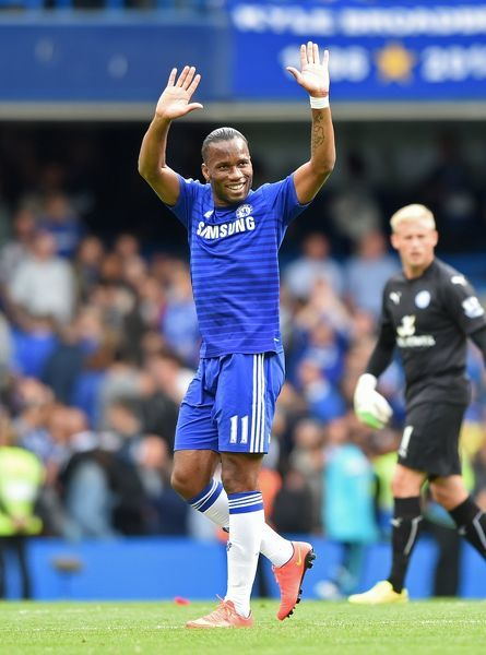 Chelsea's Didier Drogba celebrates after the game