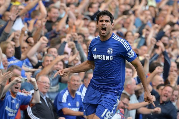 Chelsea's Diego Costa celebrates scoring his side's first goal of the game