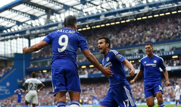 Chelsea's Radamel Falcao celebrates scoring his teams first goal of the match with team-mate Rodriguez Pedro
