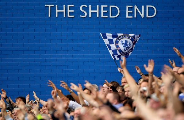 Chelsea's fans in the Shed End at Stamford Bridge in full song