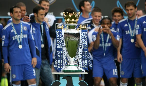 The Premier League trophy just moments before it is presented to the Chelsea players