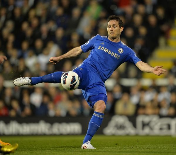 Chelsea's Frank Lampard has a shot on goal