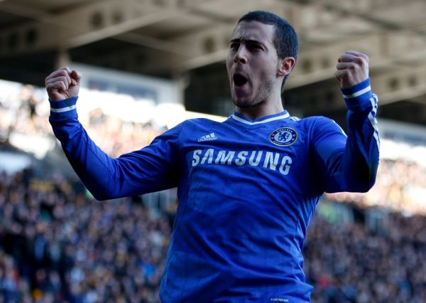 Chelsea's Eden Hazard celebrates scoring his sides first goal