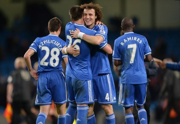 Chelsea's John Terry and David Luiz celebrate at the end of the game