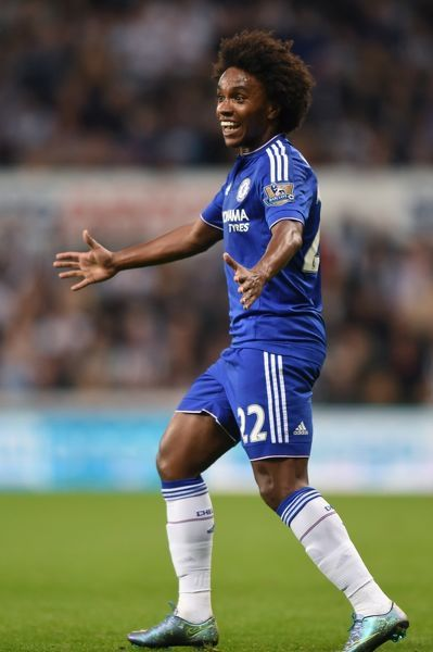 Chelsea's Willian celebrates scoring his sides second goal of the game