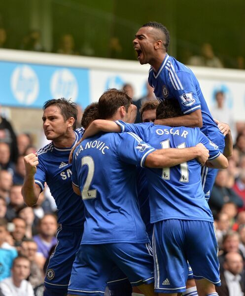 Chelsea's John Terry celebrates scoring his teams first goal of the game with teammates