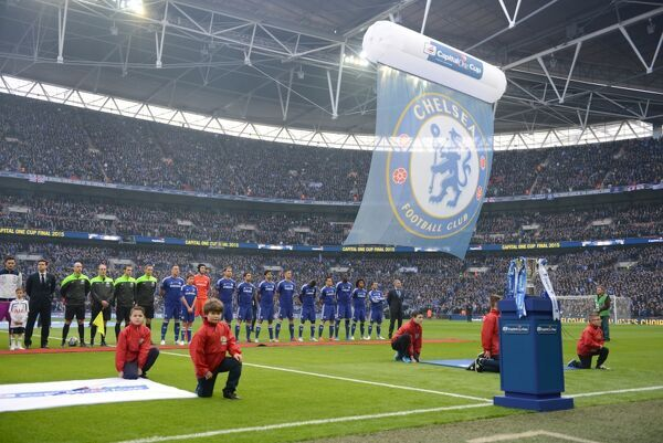 A general view of Chelsea players lined up before the game at Wembley