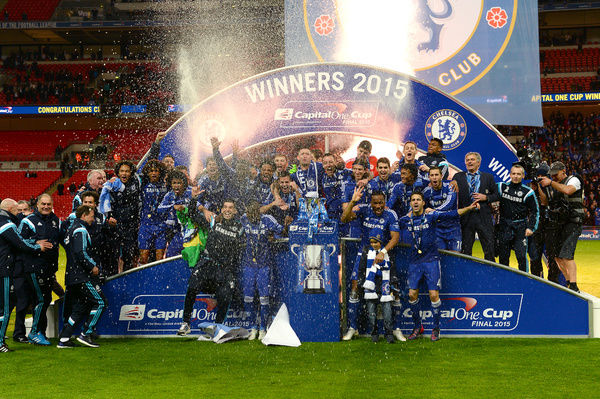 Chelsea players celebrate winning the Capital One Cup