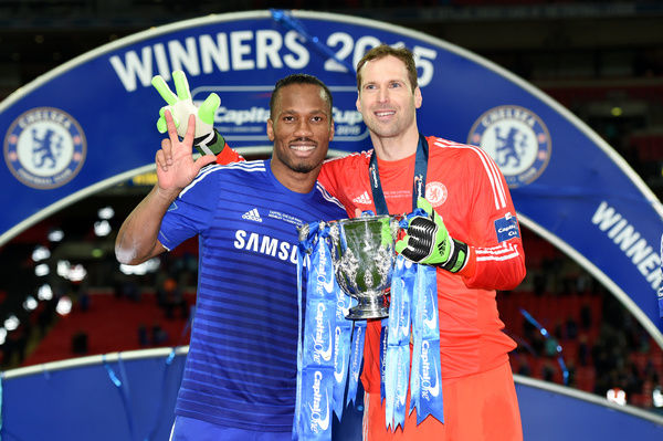 Chelsea's Didier Drogba and Petr Cech celebrate with the trophy