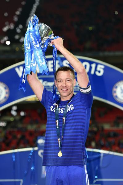 Chelsea's John Terry celebrates with the trophy