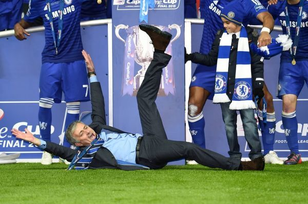 Chelsea manager Jose Mourinho celebrates their victory after the game