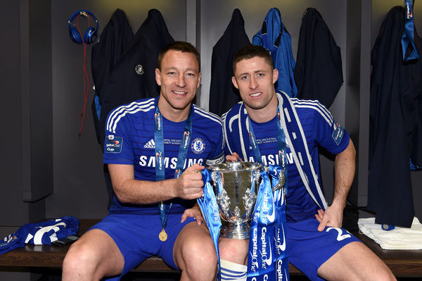 Chelsea's Gary Cahill (right) and John Terry with the Capital One Cup