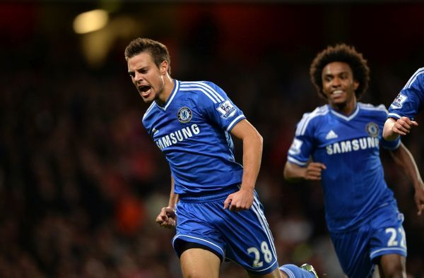 Chelsea's Cesar Azpilicueta celebrates scoring his side's first goal of the game