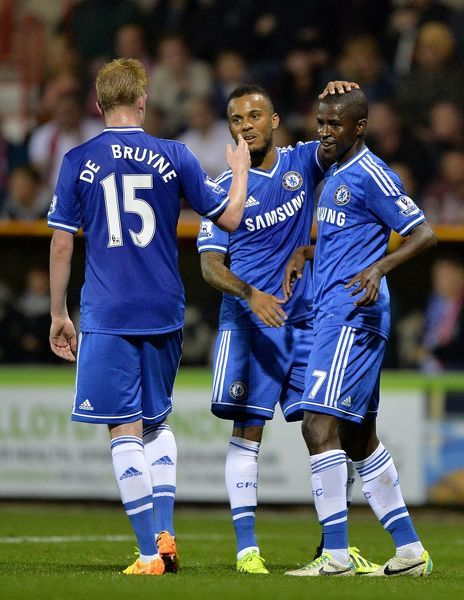 Chelsea's Nascimento Ramires (right) celebrates scoring his teams second goal of the game with teammates Kevin De Bruyne (left) and Ryan Bertrand (centre)