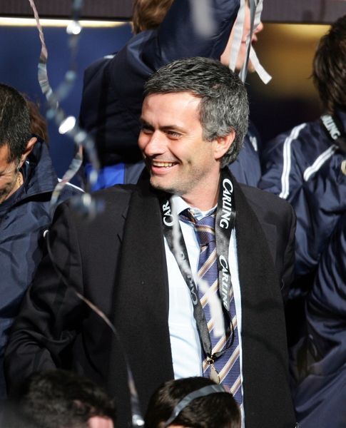 Chelsea's manager Jose Mourinho celebrates his sides win against Liverpool in the Carling Cup