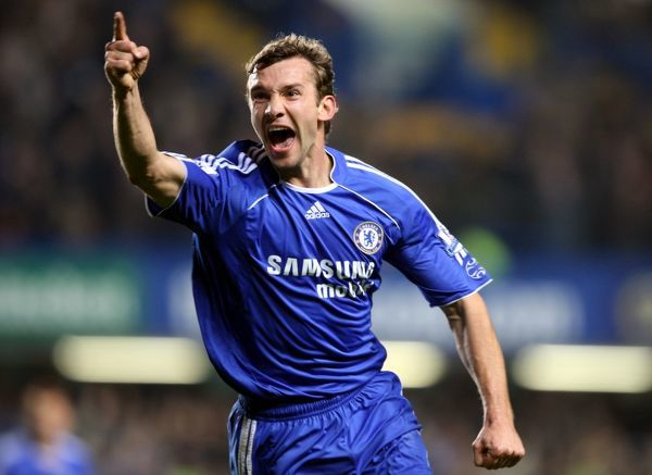 Chelsea's Andriy Shevchenko celebrates scoring his sides third goal of the game
