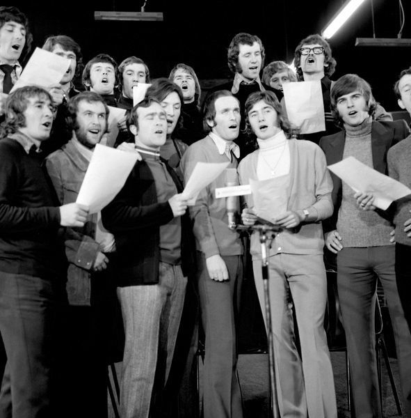 "Chelsea football team, League Cup finalists, are seen recording ""Blue is the Colour"". L-R (front row): Steve Kember, Tommy Baldwin, Ron Harris, Mickey Droy (half hidden), John Dempsey, Alan Hudson, John Phillips and Peter Houseman"