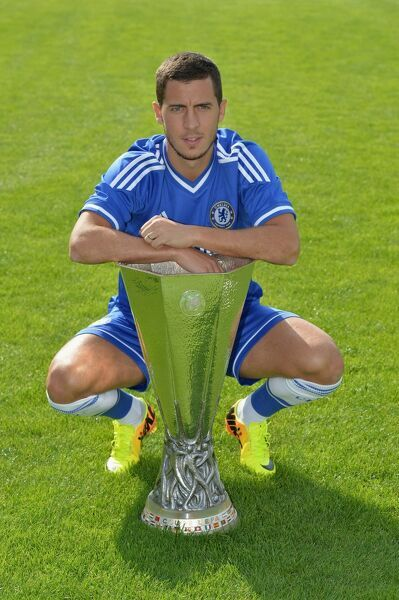 Chelsea's Eden Hazard during the 1st team photocall at the Cobham Training Ground on 23rd August 2013 in Cobham, England
