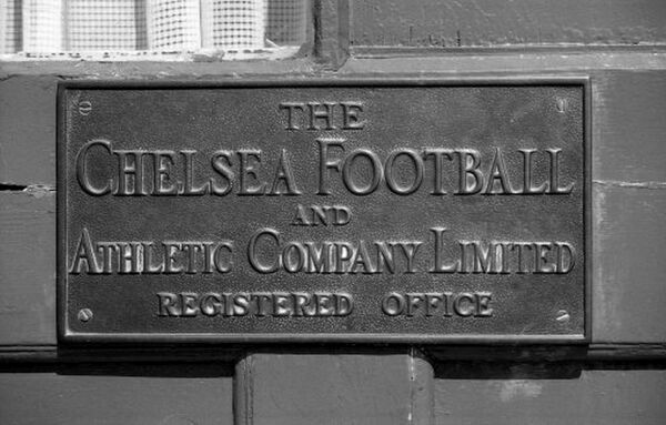 LONDON, 1977 : The old brass company nameplate on the front door of the main office at Chelsea FC, Stamford Bridge, in 1977. (Photo by Hugh Hastings/Chelsea FC ) Main Office