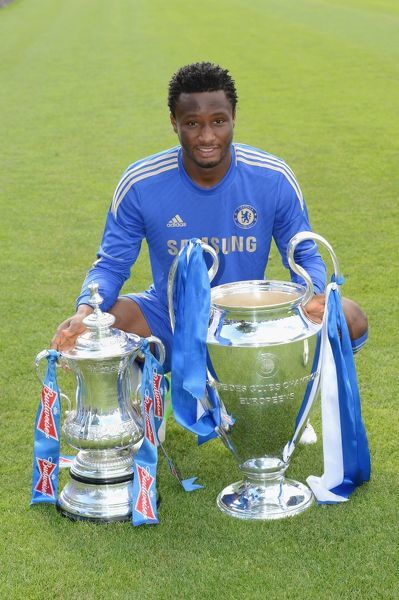 Chelsea's John obi Mikel during the team photocall at Cobham Training Ground on 28th August 2012 in Cobham, England