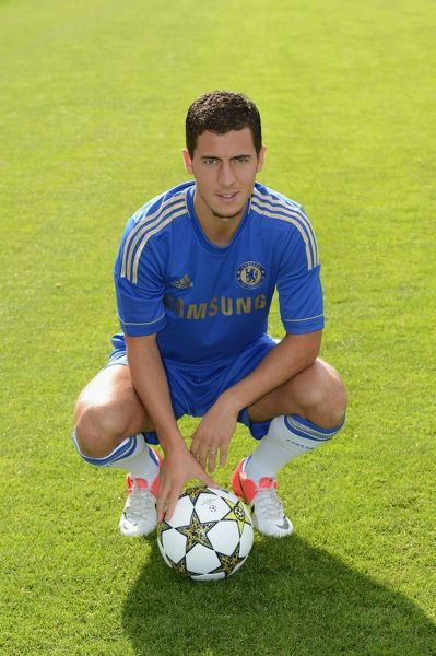 Chelsea's Eden Hazard during the team photocall at Cobham Training Ground on 28th August 2012 in Cobham, England