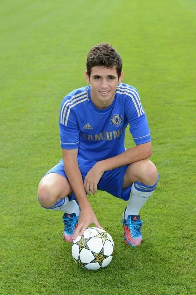 Chelsea's Oscar during the team photocall at Cobham Training Ground on 28th August 2012 in Cobham, England