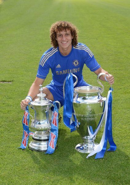 Chelsea's David Luiz during the team photocall at Cobham Training Ground on 28th August 2012 in Cobham, England