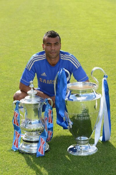 Chelsea's Ashley Cole during the team photocall at Cobham Training Ground on 28th August 2012 in Cobham, England