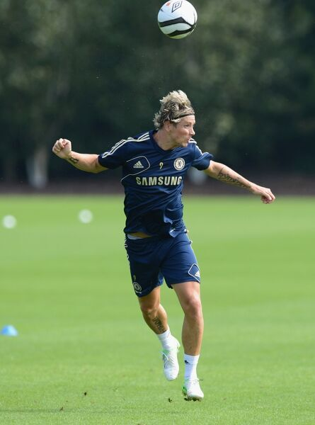 Chelsea's Fernando Torres during a training session at the Cobham Training Ground on 10th August 2012 in Cobham, England