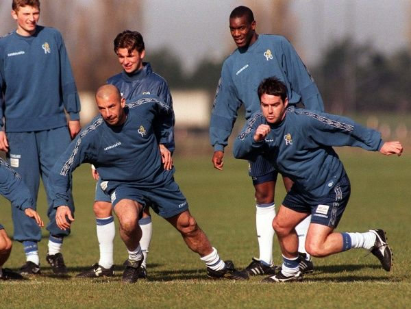 Chelsea's new player-boss Gianluca Vialli (front left), with teammates at their Middlezex training ground today (Tuesday), before tomorrow night's Coca-Cola Cup semi-final second leg against Arsenal