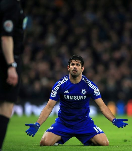File photo dated 27-01-2015 of Chelsea's Diego Costa gesturing towards the assistant referee as he claims for a foul by Liverpool's Raheem Sterling during the Capital One Cup Semi Final, Second Leg match at Stamford Bridge, London