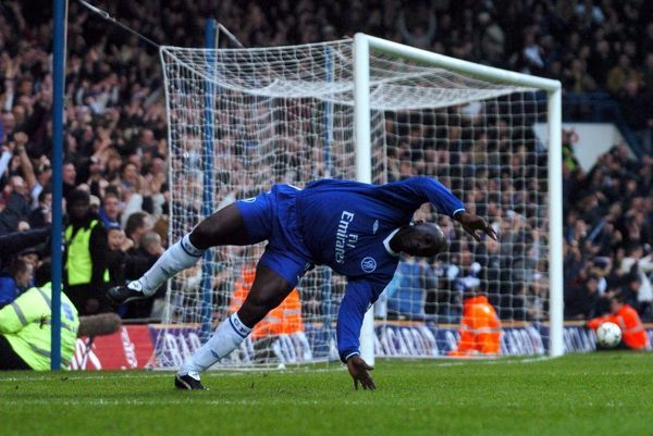 Chelsea's Jimmy Floyd Hasselbaink celebrates scoring his second goal