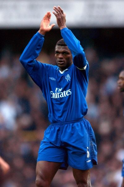 Chelsea's Marcel Desailly applauds the fans after the game