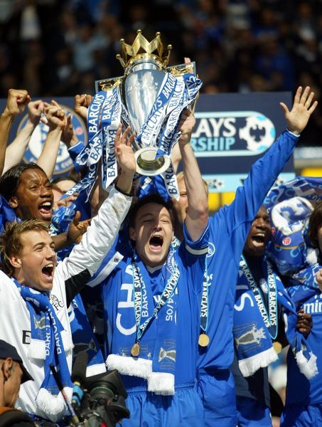 Chelsea captain John Terry lifts the Premiership trophy