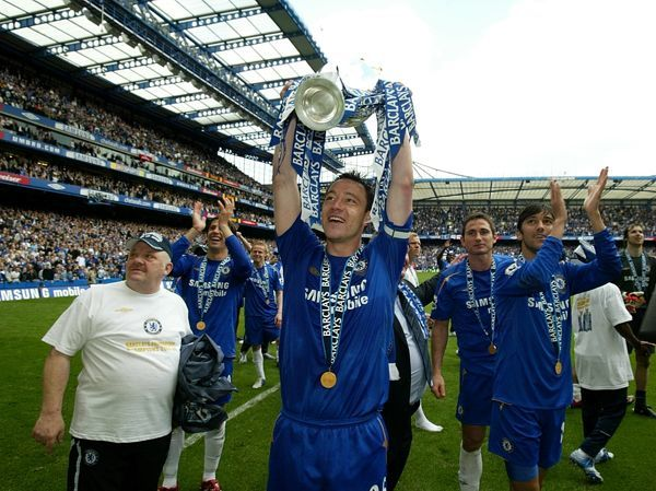 Chelsea's John Terry celebrates with the Premiership Trophy