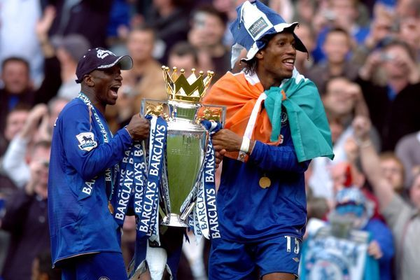 Chelsea's Claude Makelele and Didier Drogba celebrate back to back Premiership Trophy