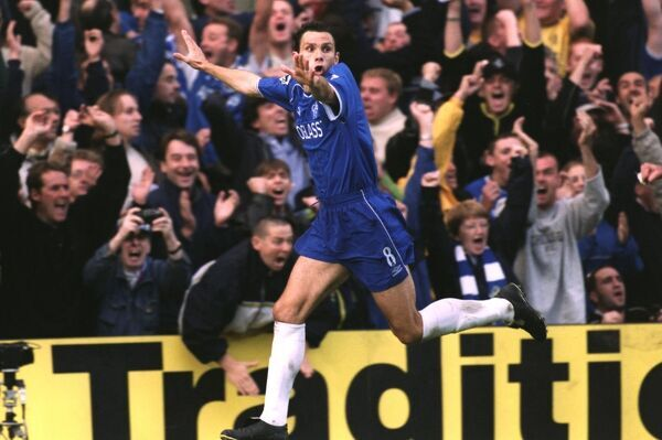 Chelsea's Gustavo Poyet celebrate's after scoring his second goal of the game