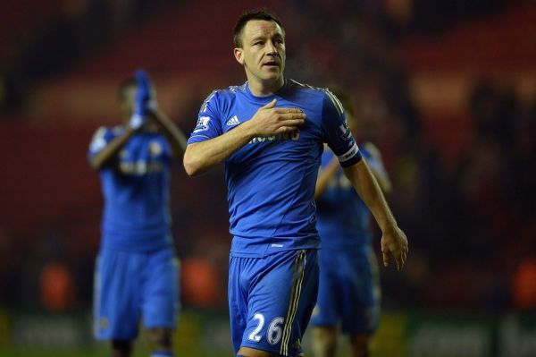 Chelsea's John Terry celebrates at the end during a FA Cup 3rd Round match between Middlesbrough and Chelsea at Riverside Stadium on 27th February 2013 in Middlesbrough, England