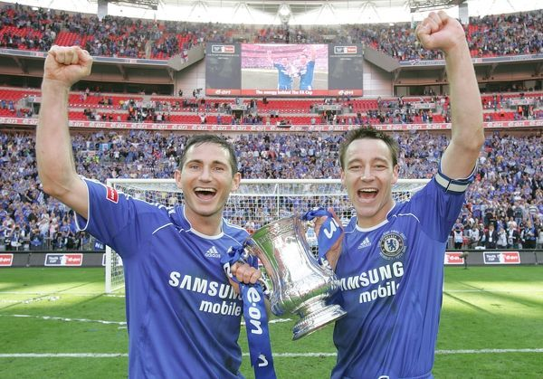 Chelsea's Frank Lampard and John Terry celebrate with the FA Cup Trophy