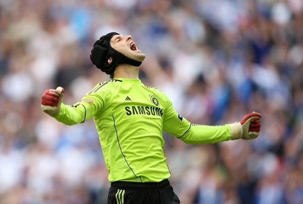 Chelsea's goalkeeper Petr Cech celebrates at the final whistle