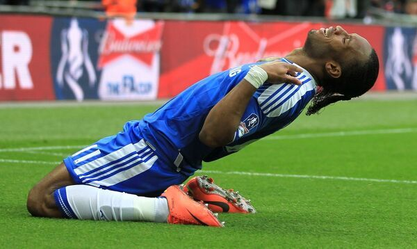 Chelsea's Didier Drogba celebrates scoring their second goal of the game